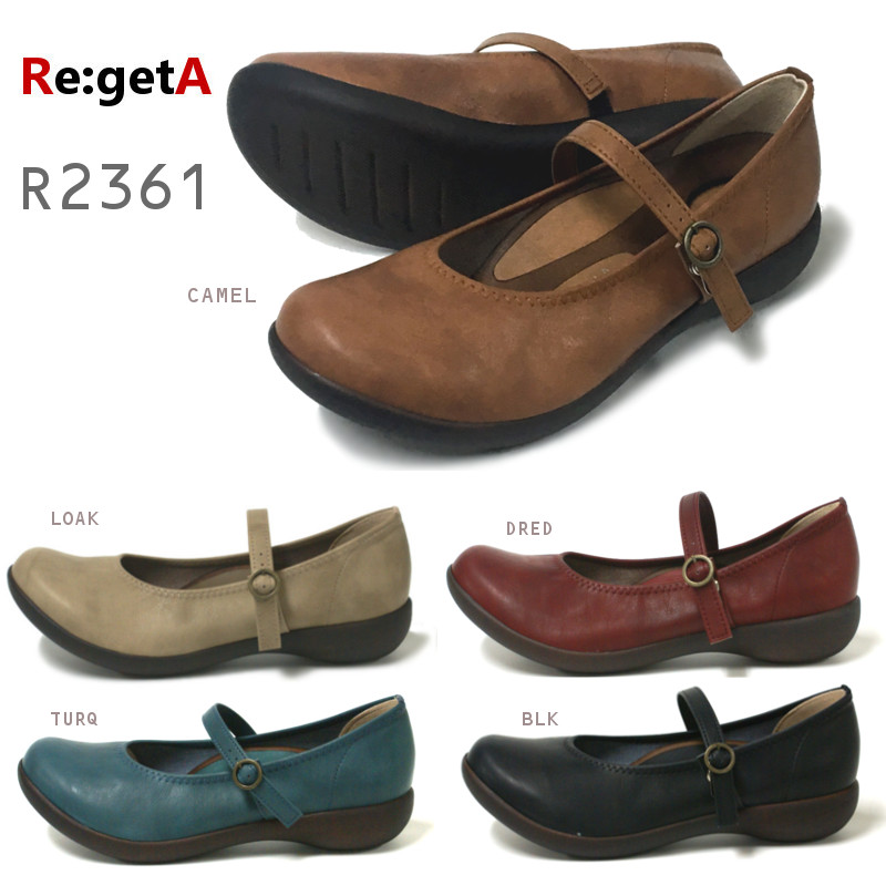 リゲッタ Re:getA R-2361 レディース ワンストラップフラットシューズ