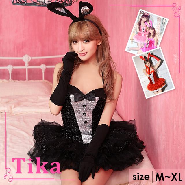 60625259ce Bunny girl three points set (dress うさ ear headband gloves) black costume  play Halloween ...