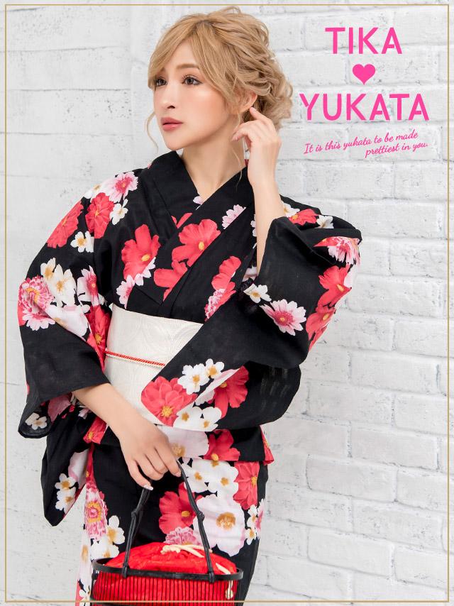 3a13daa90 ... Yukata set yukata Japanese binding kimono retro black floral design  classic classic handle fireworks display summer ...