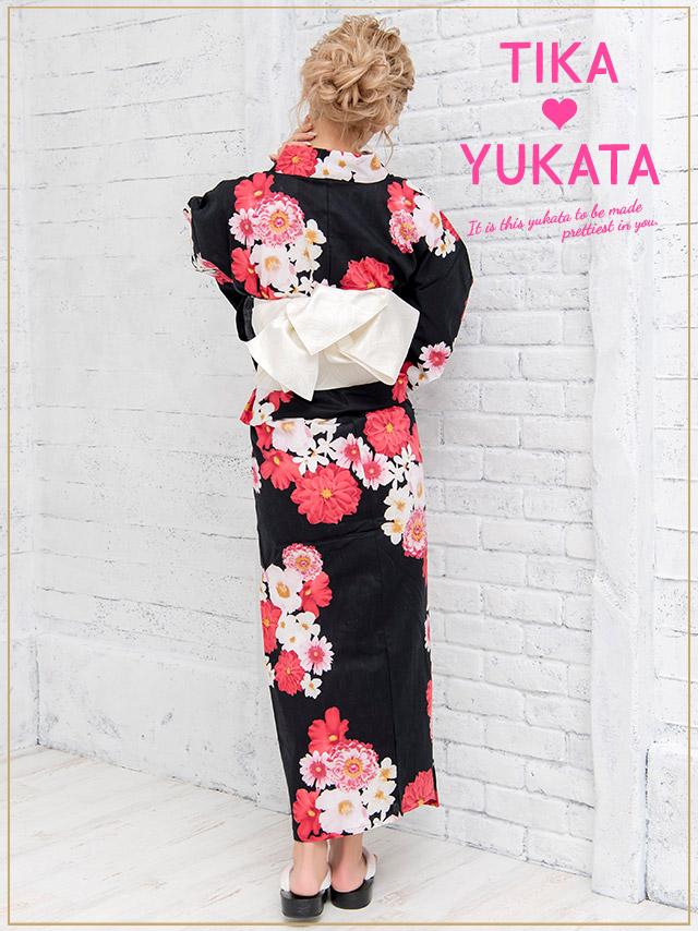 0bc2a5f98 minette shop: Yukata set yukata Japanese binding kimono retro black ...