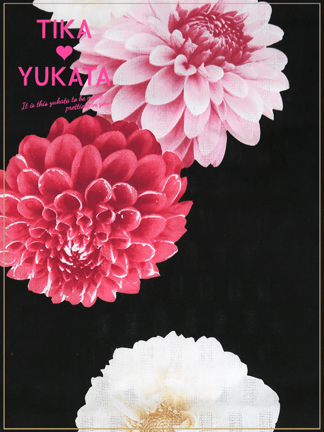 4c9707def180 Yukata set yukata kimono retro cattle peony floral design classic classic  handle fireworks display summer festival festival for the Tika Thika black  ...