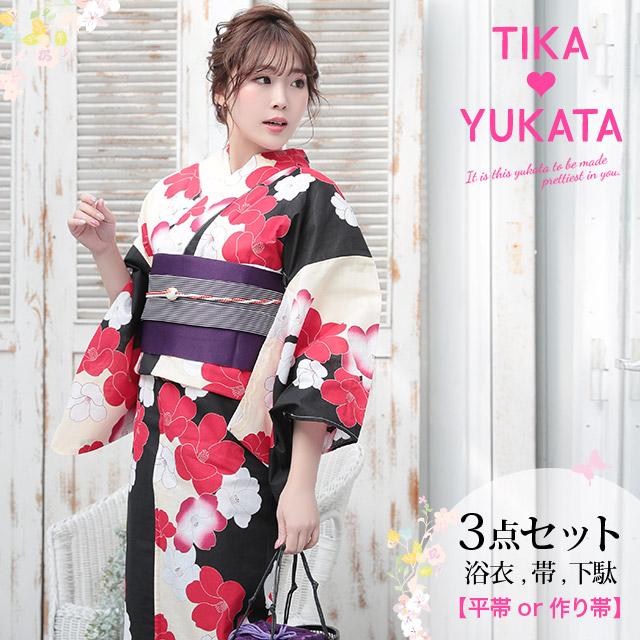 519e20fe2 Yukata set yukata Japanese binding kimono retro black floral design classic  classic handle fireworks display summer ...