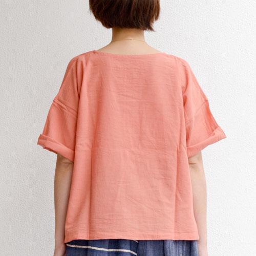 鄭惠中さんの 半袖カットソー ショート丈 鈍珊瑚色1Jcu3lFTK5