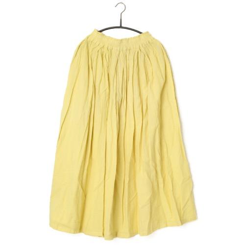 鄭惠中さんの 綿麻スカート(薄手・フリーサイズ) 薄黄色