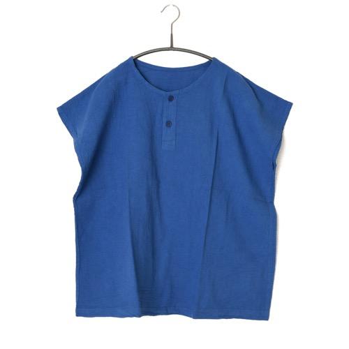 鄭惠中さんの 綿麻ノースリーブシャツ 青色