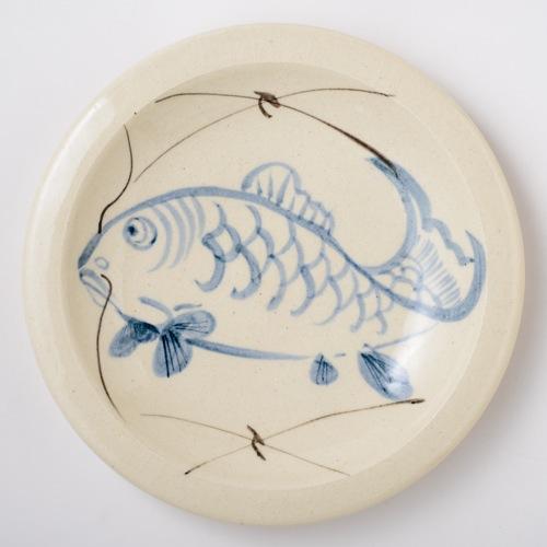 瀬戸本業窯 染付け石皿 9寸(鯉)