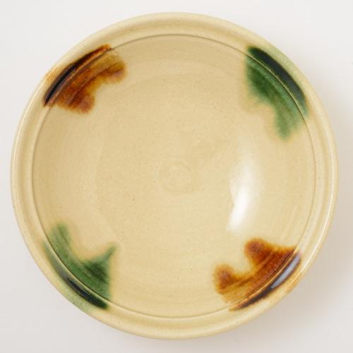 瀬戸本業窯 二彩折縁鉢 9寸 緑茶