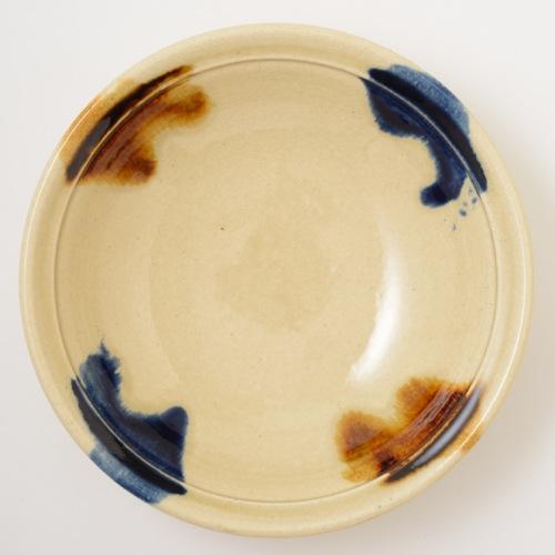 瀬戸本業窯 二彩折縁鉢 9寸 青茶