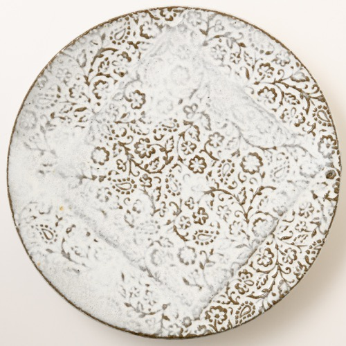 小代瑞穂窯 印花台皿 大 白