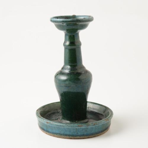 中国 緑釉燭台 大