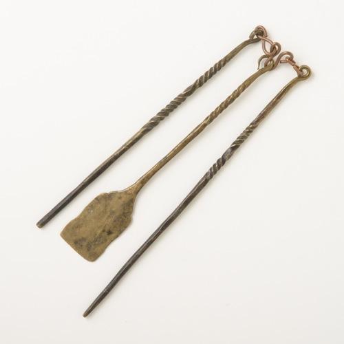 中国 真鍮 火鉢用 火箸&灰ならし