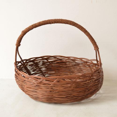 沖縄民具 ワラビ縄巻き手付きかご 楕円(横幅43cm)