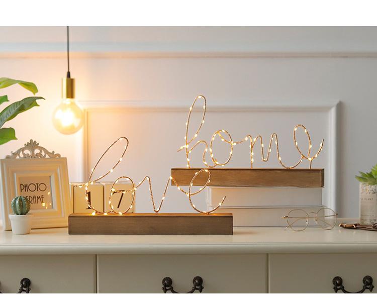 LEDライト 英字 卓上 物置 ゴールド 単3電池 love home 贈り物 照明 2020A W新作送料無料 アクセサリー 民泊 カフェ ホテル ベッドルーム リビング 玄関 バー 飾り
