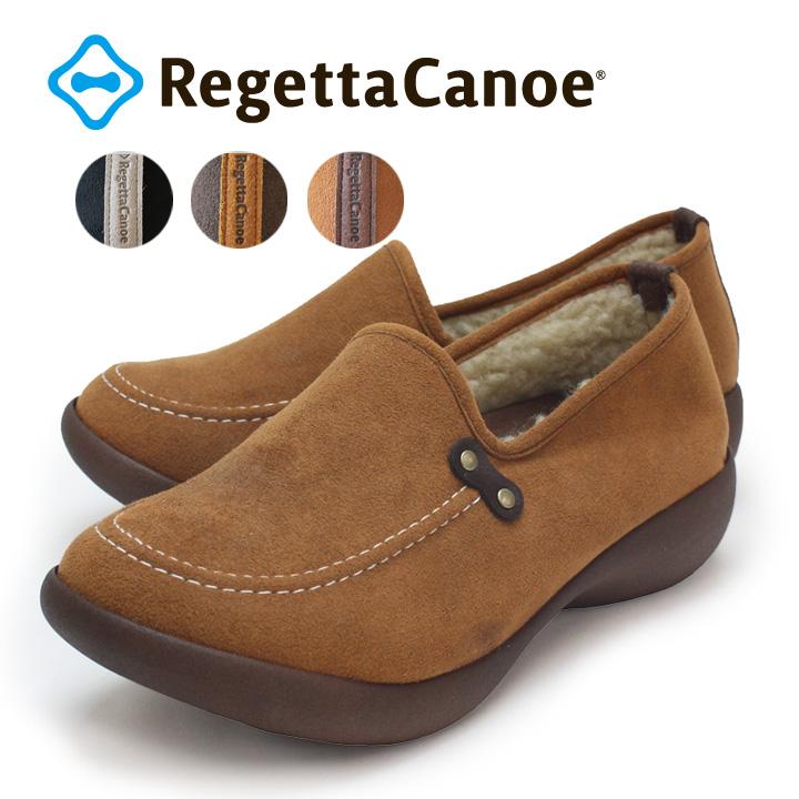 RegettaCanoe -リゲッタカヌー-CJAL-4107 アシンメトリーローウェッジヒール ボア付きスエード調モカシンシューズ