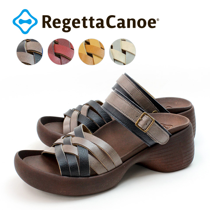 RegettaCanoe -リゲッタカヌー-CJBK-9002 ブロックヒールタイプ 編み込みベルト2WAYサンダル