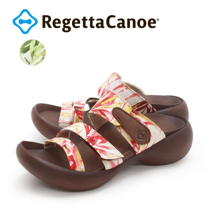 RegettaCanoe -リゲッタカヌー-CJEG-5247 エッグヒール ボタニカル柄ダブルベルクロサンダル