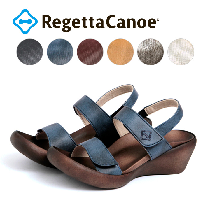 RegettaCanoe -リゲッタカヌー-CJLW-5501 ウェッジヒール デニム生地ウェッジサンダル