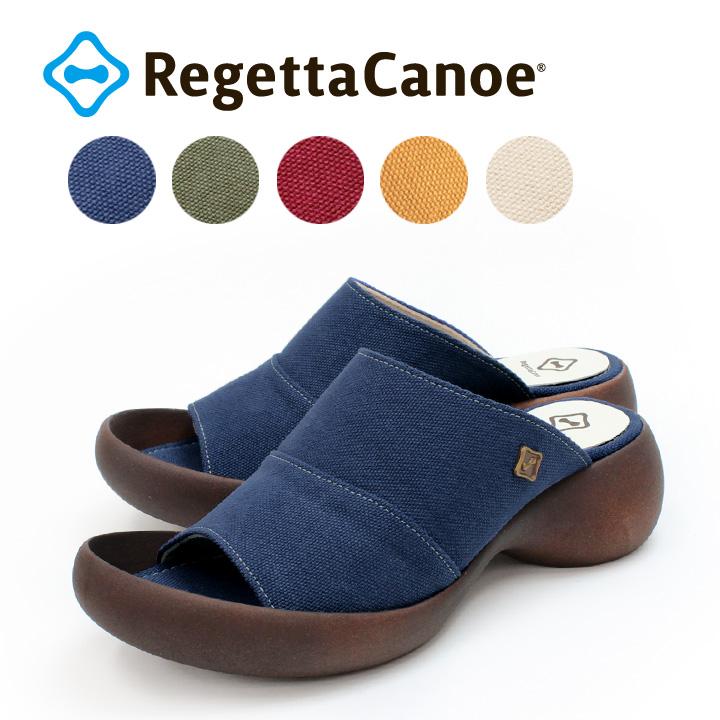 RegettaCanoe -リゲッタカヌー-CJLE-500 リトルエッグヒール キャンバス地カバーサンダル
