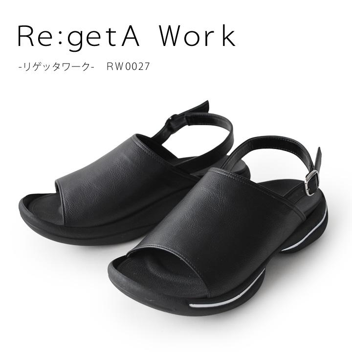 働く女性に贈るおしごとリゲッタ Re:getA Work 全国どこでも送料無料 -リゲッタワーク-RW-0027 バックベルト付き オフィスサンダル 歩きやすい カバーサンダル 疲れにくい ローヒール SALE