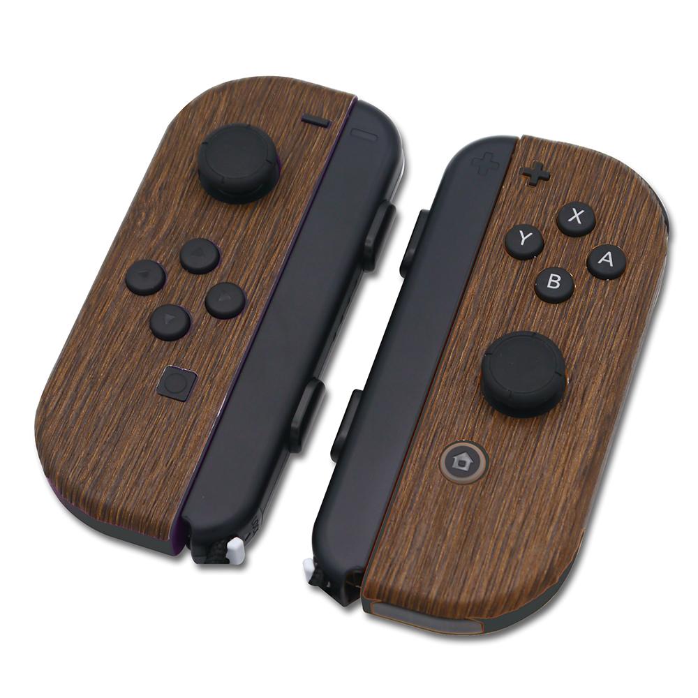 mini2x ジョイコン用 スキンシール 木目調 送料無料 Nintendo 通信販売 特価 Switch 任天堂 リアル 簡単貼付け スイッチ 側面対応 Joy-Con 保護カバー 焦げ茶色