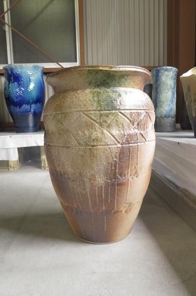 大壺花入れ花瓶伝統の信楽 花入れ  大きいサイズ  壺型花瓶 特大