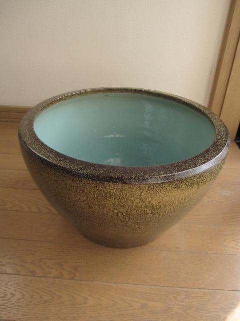 送料無料楽焼き水鉢 金ソバSA-6水鉢15号   睡蓮鉢  水鉢  送料無料