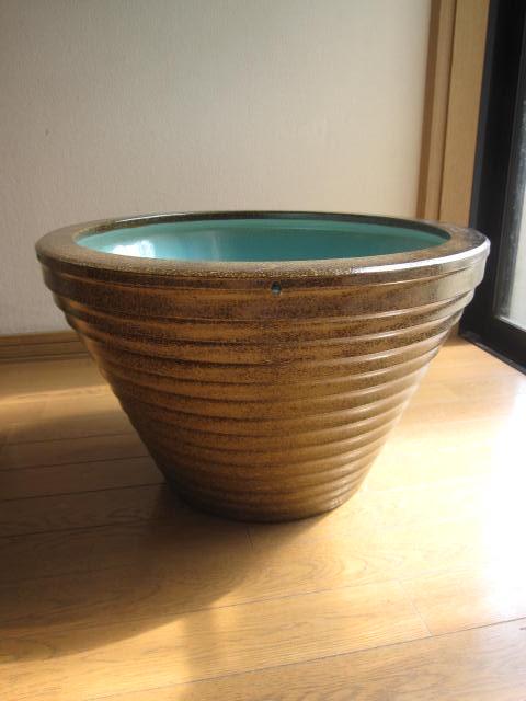 信楽焼きの技の逸品   本物の手作りの一品 信楽焼き水鉢 金ソバSA-9(16号) 睡蓮鉢  水鉢  送料無料