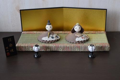信楽雛人形高級ひな人形雛人形親王飾り信楽焼の陶器のお雛様 手作り信楽焼き陶器雛人形