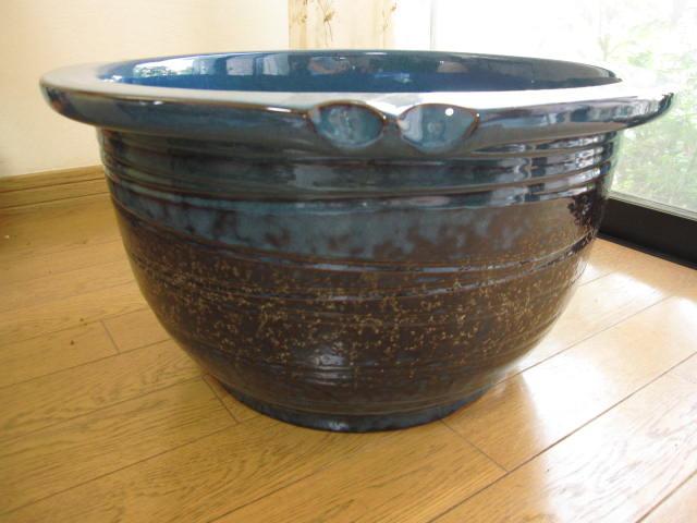 信楽焼き水鉢生子千段水鉢(15号) 睡蓮鉢  水鉢  送料無料