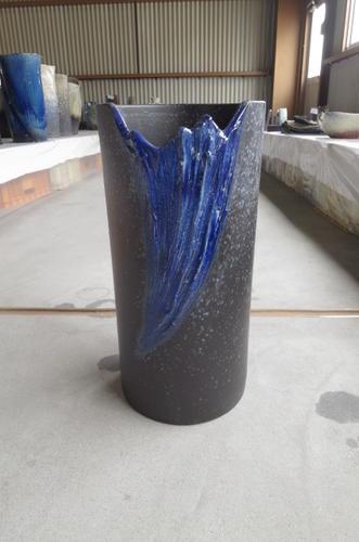 傘立傘たて青ガラスウェーブ傘立 信楽焼  送料無料