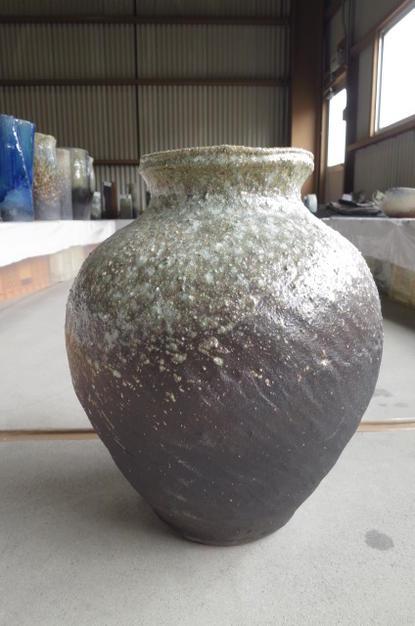 大壺花瓶伝統の信楽 花入れ  大きいサイズ   花器インテリアベース 大壺