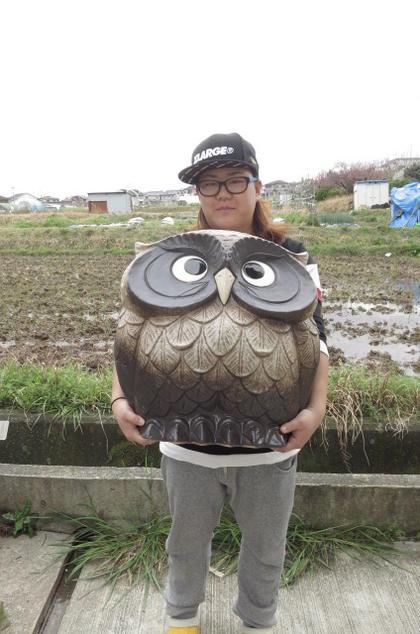 新築のお祝いや 自宅のお庭に ふくろう 置物 ガーデニング   特大フクロウ置物 家族セット 親フクロウ 子フクロウセットです