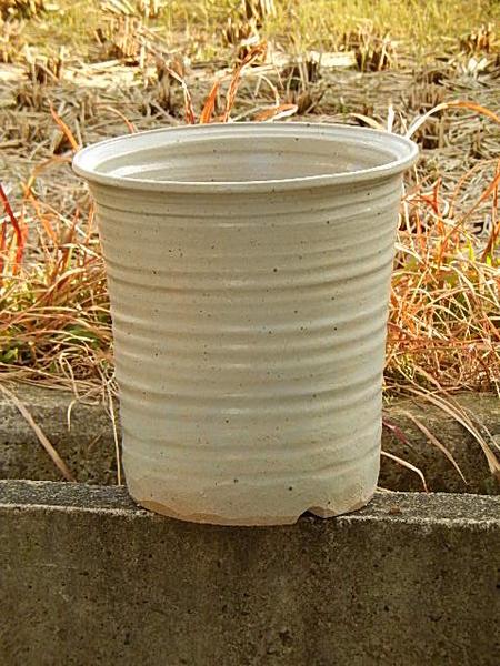 本格的ガーデニングに人気の陶製植木鉢 植木鉢 爆買いセール 白釉懸崖鉢 信楽植木鉢 オンラインショッピング