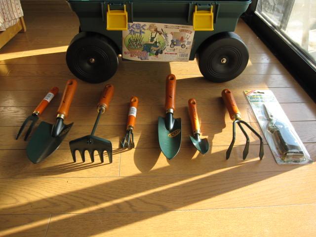訳あり品送料無料 必要な道具がすべて揃っていますので SALENEW大人気! その日からガーデニングが楽しめます ガーデニング道具セット 園芸道具八点セットと台車 送料無料