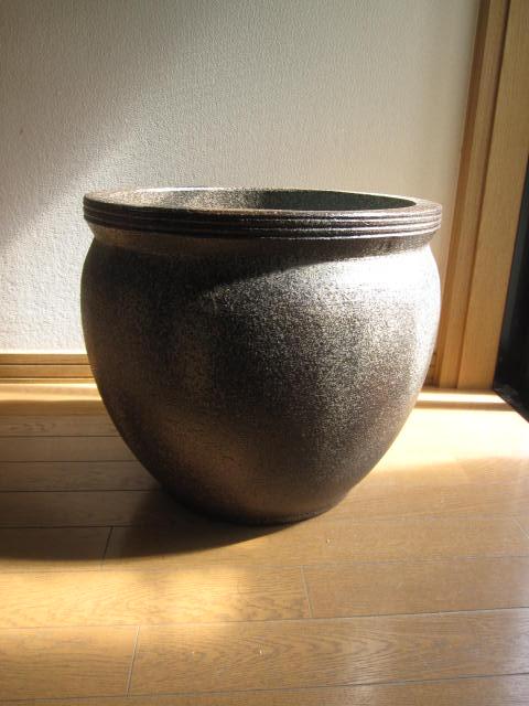 送料無料信楽焼き水蓮鉢・はす鉢・メダカ鉢他 睡蓮鉢 壺型 水鉢