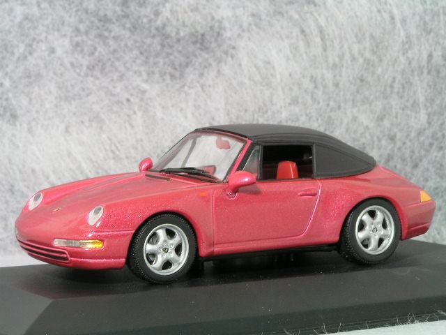 ミニチャンプス 1/43 ポルシェ 911 ( 993 ) カブリオレ + ソフトトップ / レッド メタリック