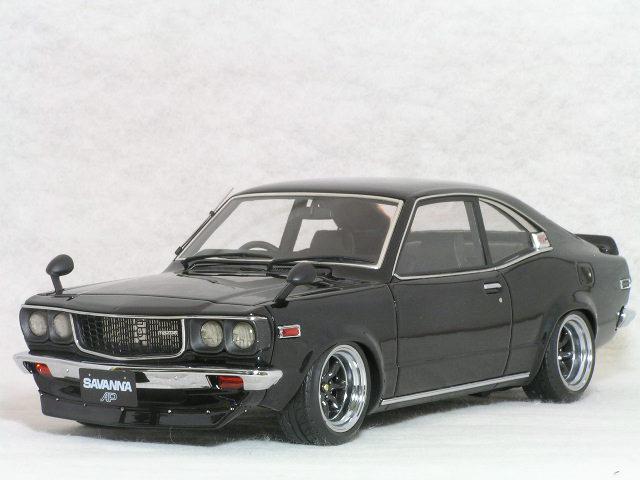【在庫あり】ignition モデルス 1/18 スケール マツダ サバンナ ( S124A ) / ボディーカラー ブラック、RS ワタナベ ワイド ホィール