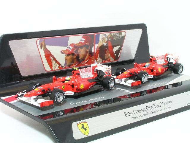 ホット ホィール 1/43 フェラーリ F10、2010年バーレン GP 1-2 フィニッシュ 記念 F.アロンソ / F.マッサ、2台セット