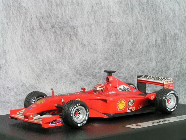 ホット ホィール 1/43 フェラーリ F2001 ミハイル・シューマッハ / マルボロ タバコ バージョン フィニッシュライン ( ウェザーリング )カスタム品