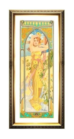アルフォンス・ミュシャ 》昼の輝き(61.5x21.5cm)ジクレーポスター額装品樹脂フレームゴールド