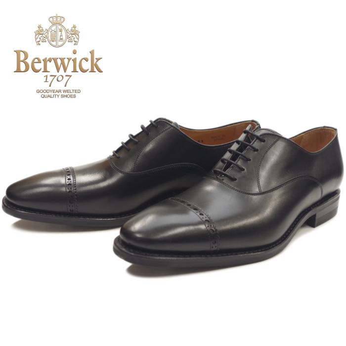 バーウィック ストレートチップシューズ Berwick 靴 3577FM ブラック ボックスカーフ ダイナイトソール スペイン製 ビジネスシューズ メンズ 本革 内羽根 送料無料 【あす楽対応】