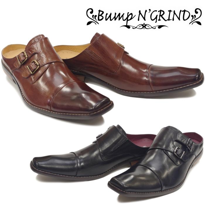 バンプアンドグラインド Bump N' GRIND BG 6047 ダブルモンクストラップ ビジネスシューズ 革靴 ビジネスサンダル メンズ スリッポン カジュアル かかと無し 送料無料