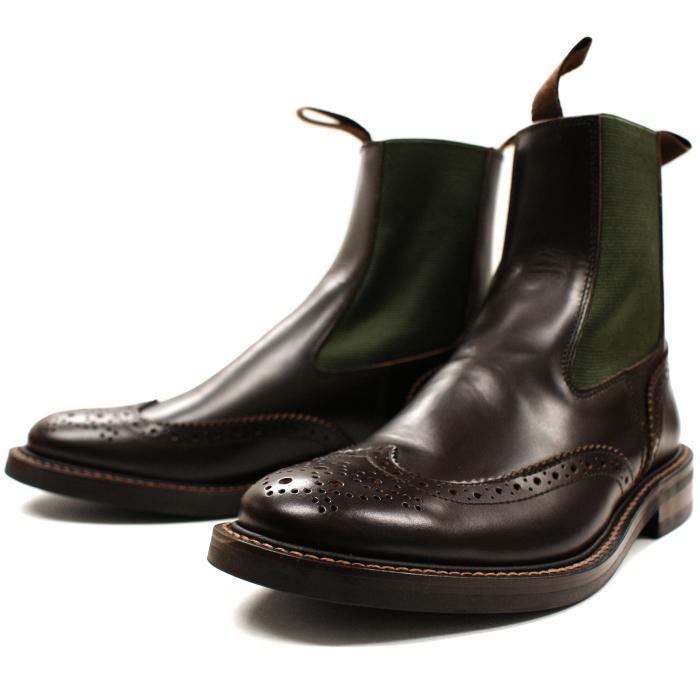 Locking Shoes ロッキングシューズ SIDEGORE WINGTIP BOOTS 917 ダークブラウン サイドゴア チェルシー ウィングチップ ブーツ FootMonkey フットモンキー メンズ ビジネス 送料無料 2015FW