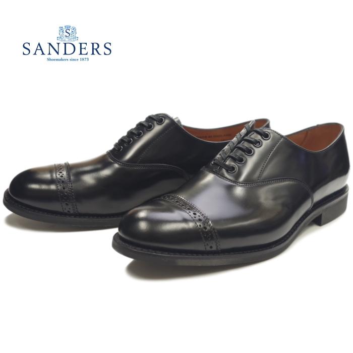 サンダース ミリタリー SANDERS 1947 MILITARY PUNCHED CAP OXFORD ブラック ストレートチップシューズ キャップトゥ レザー ビジネスシューズ メンズ 本革 イングランド製 送料無料 【あす楽対応】