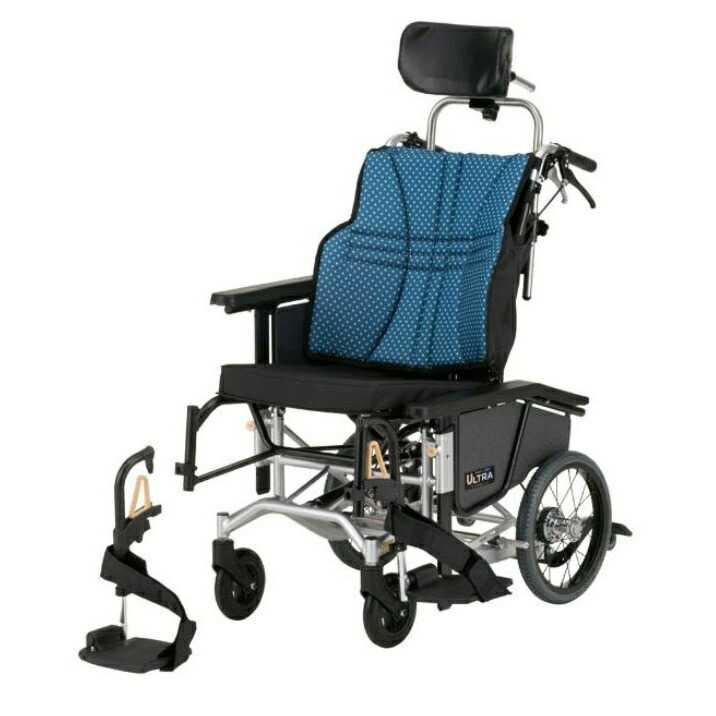 ウルトラ 軽量コンパクトティルト&リクライニング車椅子 ノーパンクタイヤ仕様 NAH-UC·Hi  インディゴ<日進医療器>