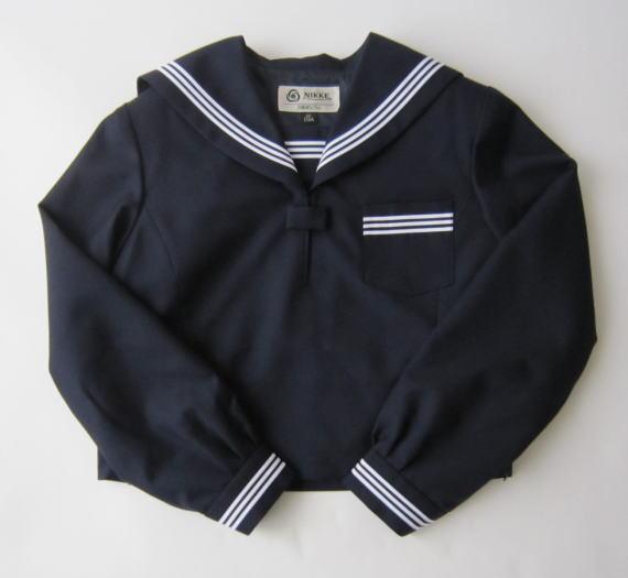 セーラー服上衣 (紺・衿カフス3本ライン)ウール50%/ポリエステル50%