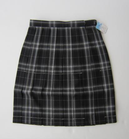 KURI-ORI スクールスカート 48cm丈 黒×グレー(くろくま)クリオリ チェックプリーツスカート