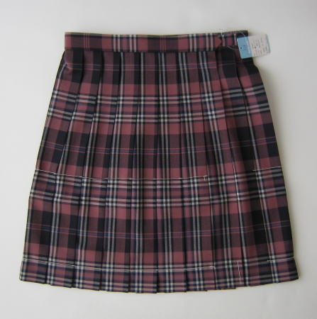 KURI-ORI 【夏用】スクールスカート 42cm丈 ピンク×紺×白クリオリ チェックプリーツスカート