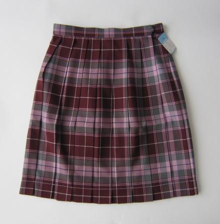 KURI-ORI スクールスカート 42cm丈 エンジ×グレー×ピンククリオリ チェックプリーツスカート