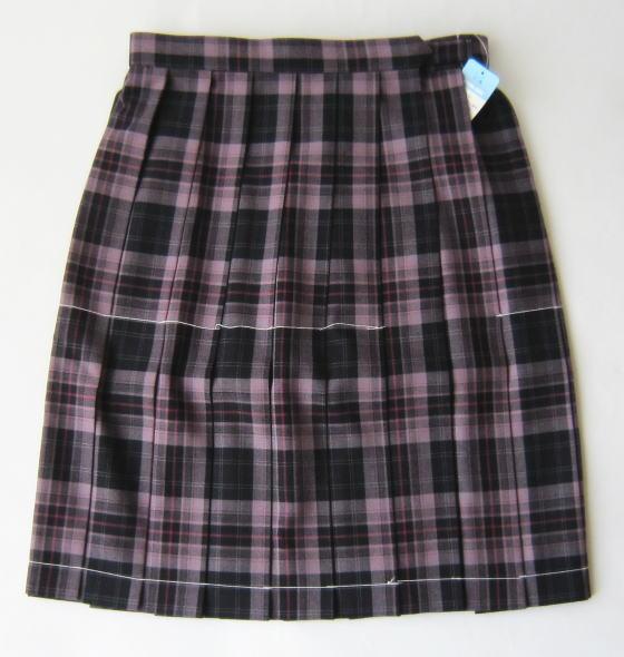 KURI-ORI スクールスカート 48cm丈 ピンク×濃紺 クリオリ チェックプリーツスカート